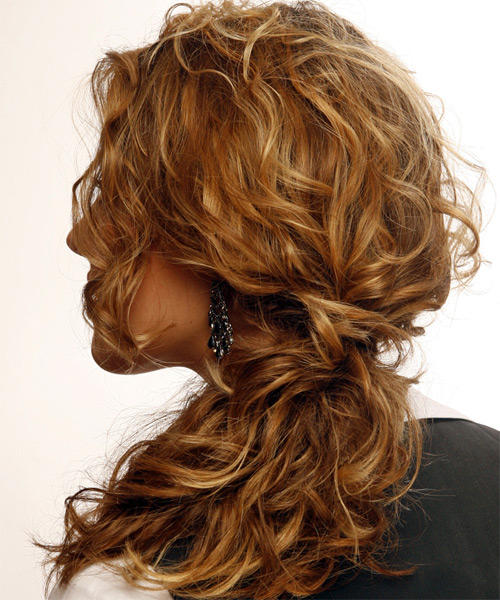Half Up Long Curly Formal  Half Up Hairstyle   - Dark Blonde (Copper) - Side on View
