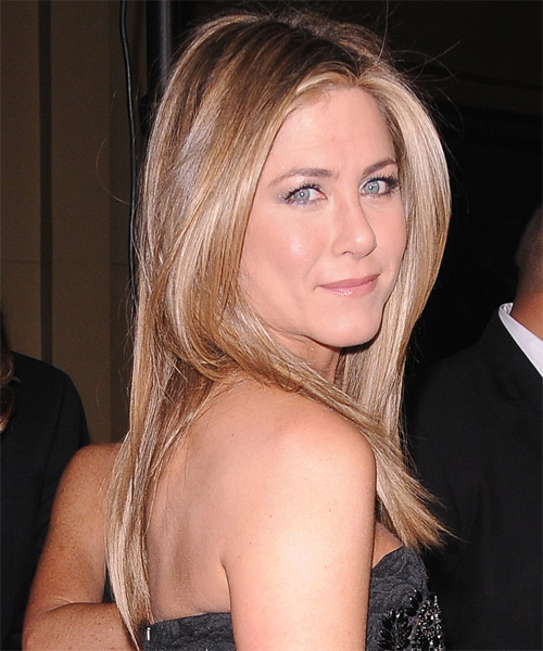 Jennifer Aniston Long Straight   Light Caramel Brunette   Hairstyle   with Light Blonde Highlights - Side on View