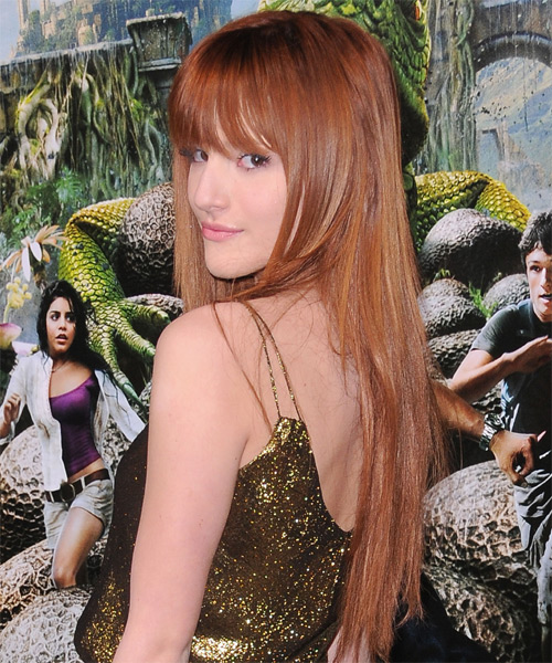 Bella Thorne Long Straight Formal   Hairstyle with Layered Bangs  - Medium Brunette (Copper) - Side on View
