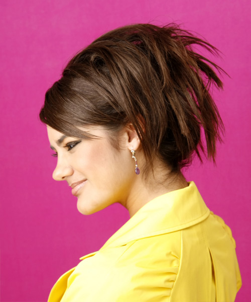 Long Straight Formal   Updo Hairstyle with Side Swept Bangs  - Medium Chocolate Brunette Hair Color - Side on View
