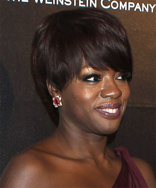 Viola Davis Short Straight Formal   Hairstyle with Layered Bangs  (Mocha) - Side on View
