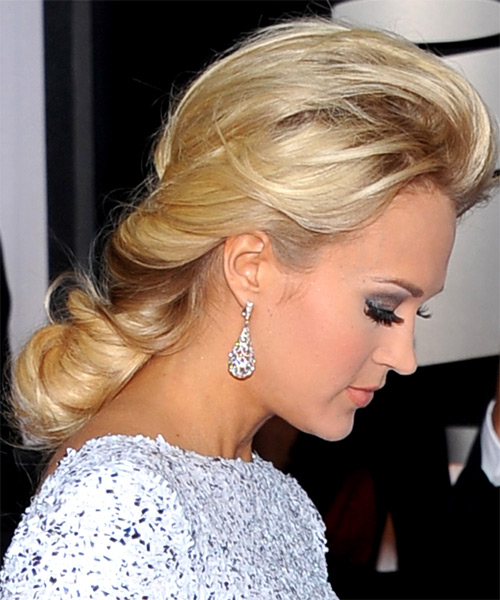 Carrie Underwood  Long Straight Formal   Updo Hairstyle   -  Golden Blonde Hair Color - Side on View