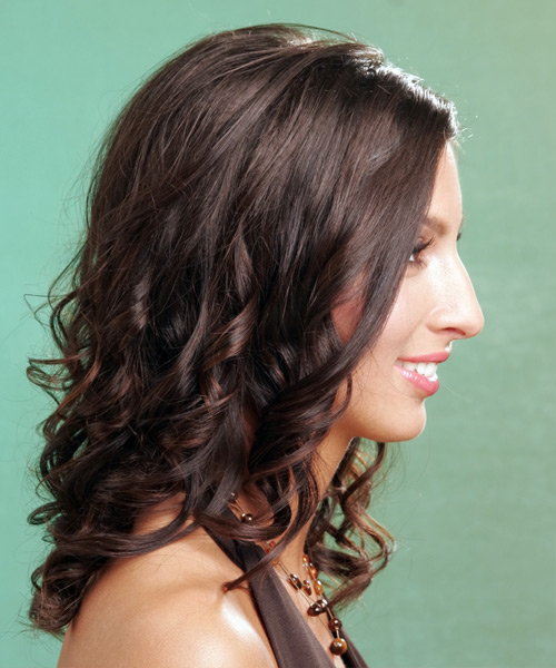 Long Wavy   Mocha   Hairstyle   - Side on View