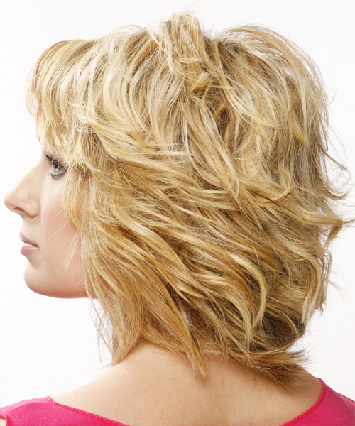 Medium Wavy   Golden   Hairstyle   - Side on View