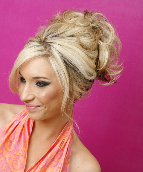 Long Curly   Light Blonde  Updo    - Side on View