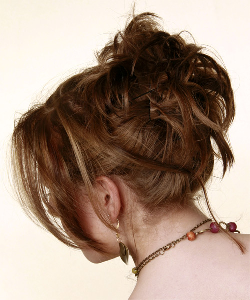 Updo Long Straight Formal  Updo Hairstyle with Side Swept Bangs  - Medium Brunette (Chestnut) - Side on View