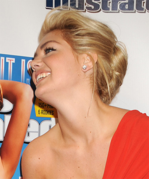 Kate Upton  Medium Straight   Dark Golden Blonde  Updo    - Side on View