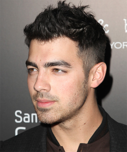 Joe Jonas Short Straight Casual   Hairstyle   - Black - Side on View