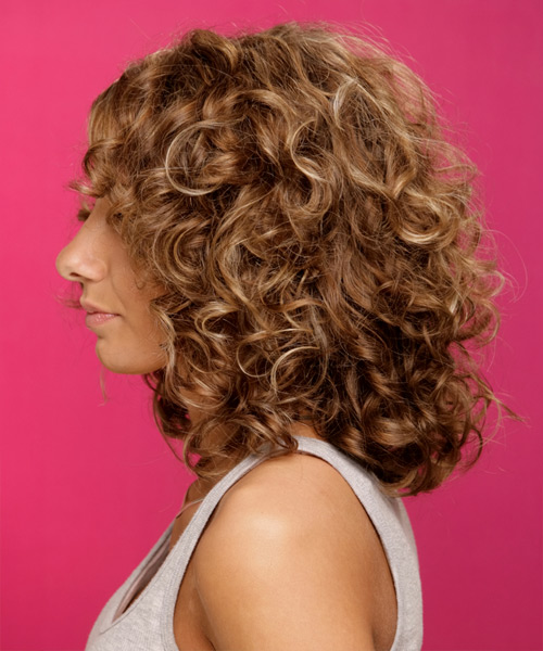 Medium Curly Formal   Hairstyle   - Medium Brunette (Chestnut) - Side on View