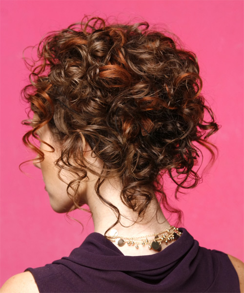 Long Curly Formal   Updo Hairstyle   - Medium Mahogany Brunette Hair Color - Side on View