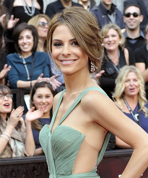 Maria Menounos  Long Straight   Light Brunette  Updo    with Light Blonde Highlights - Side on View