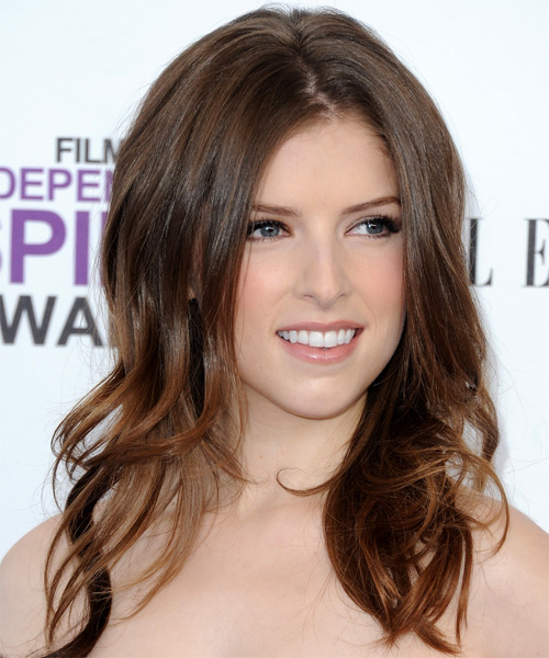 Anna Kendrick Long Straight Formal   Hairstyle   (Chocolate) - Side on View