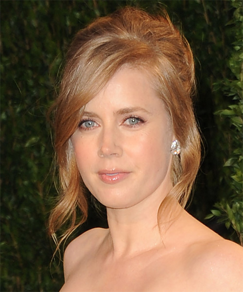 Amy Adams  Long Straight    Ginger Red  Updo  with Side Swept Bangs  - Side on View