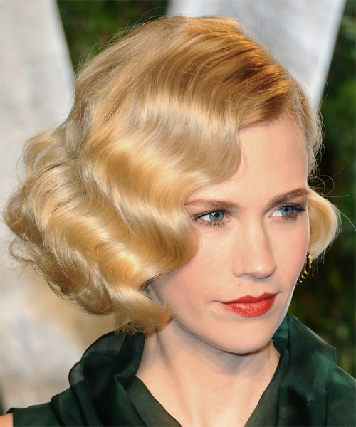 January Jones Short Wavy Formal Bob  Hairstyle   - Medium Brunette (Golden) - Side on View