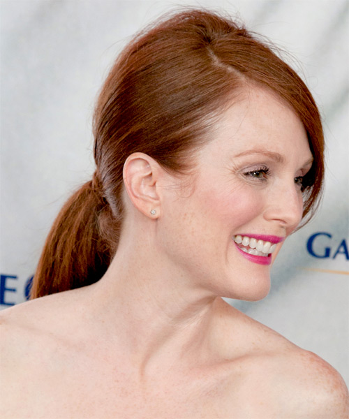 Julianne Moore  Long Straight   Dark Auburn Red  Updo  with Side Swept Bangs  - Side on View