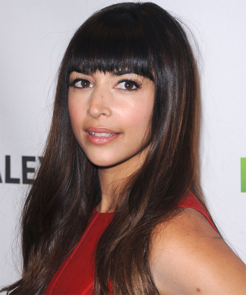 Hannah Simone Long Straight Formal   Hairstyle with Blunt Cut Bangs  - Dark Brunette - Side on View