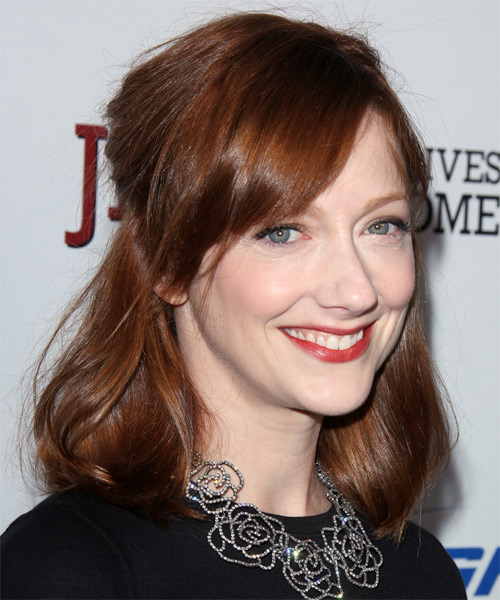 Judy Greer Medium Straight    Auburn Brunette   Hairstyle with Side Swept Bangs  - Side on View