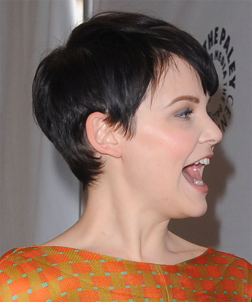 Ginnifer Goodwin     Black  Pixie  Cut with Layered Bangs  - Side on View