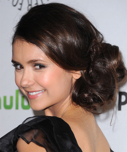 Nina Dobrev  Long Curly Formal   Updo Hairstyle   - Dark Brunette Hair Color - Side on View