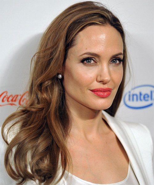 Angelina Jolie Long Wavy    Caramel Brunette   Hairstyle   with  Blonde Highlights - Side on View