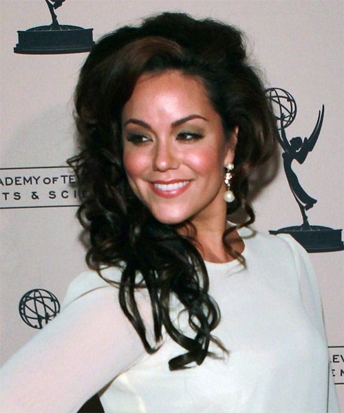 Katy Mixon Half Up Long Curly Formal  Half Up Hairstyle   - Dark Brunette - Side on View