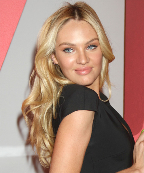 Candice Swanepoel Long Straight Formal   Hairstyle   - Medium Blonde (Golden) - Side on View