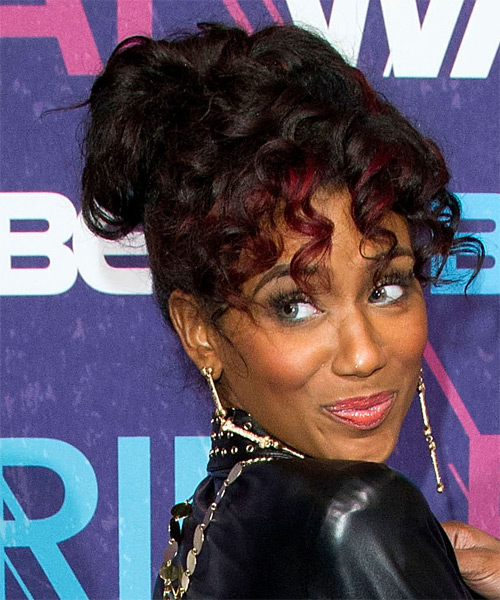 Guyana  Long Curly Casual   Updo Hairstyle with Layered Bangs  - Dark Brunette Hair Color with  Red Highlights - Side on View