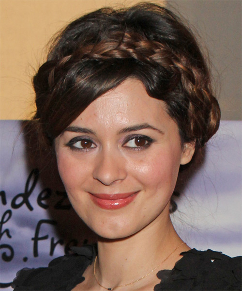 Emilie Simon Updo Long Straight Formal Braided Updo Hairstyle   - Medium Brunette - Side on View