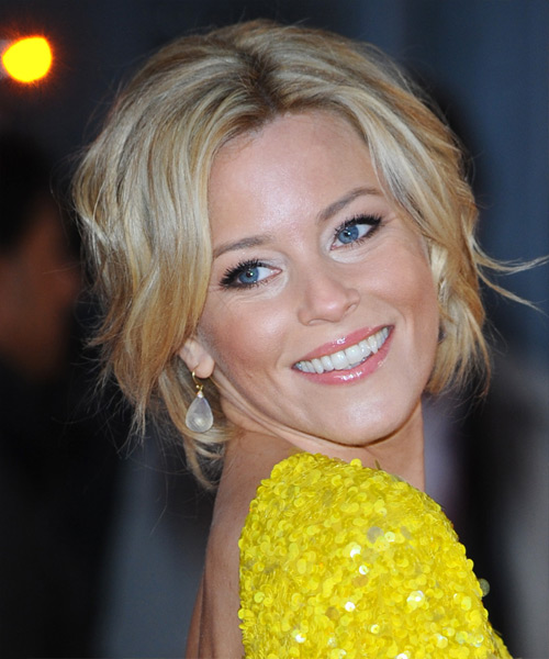Elizabeth Banks  Medium Curly    Blonde  Updo    with Light Blonde Highlights - Side on View