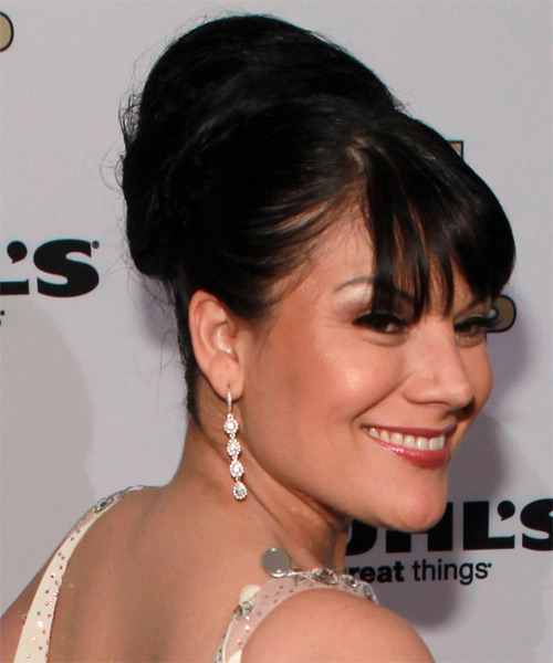 Diana Reyes Updo Long Straight Formal Wedding Updo Hairstyle with Blunt Cut Bangs  - Black - Side on View