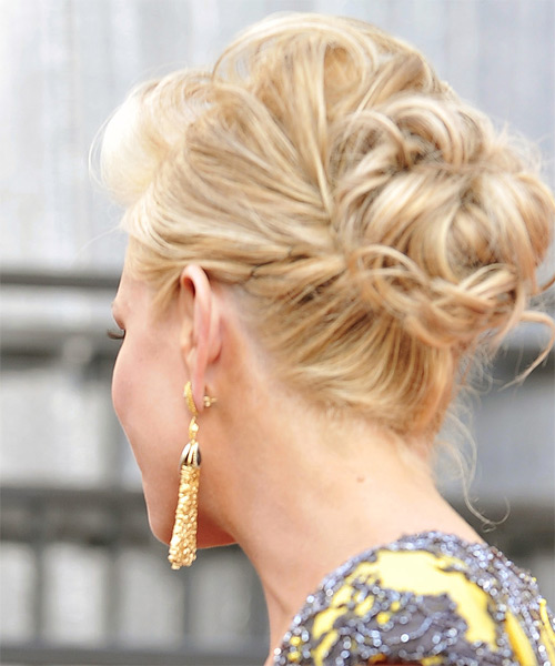 Nancy O Dell  Long Curly Formal   Updo Hairstyle   - Dark Blonde Hair Color with Light Blonde Highlights - Side on View