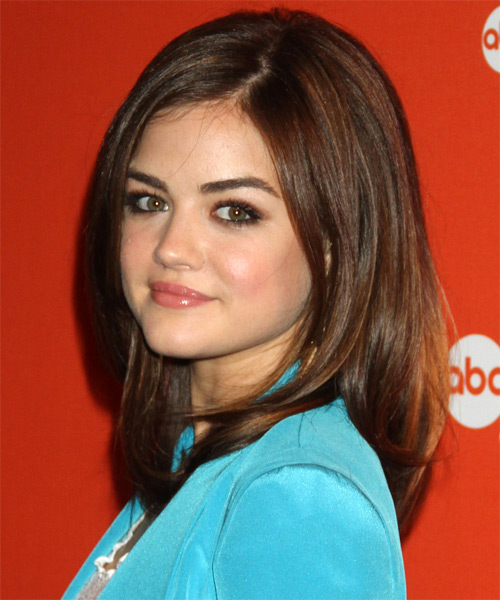 Lucy Hale Medium Straight   Dark Chocolate Brunette   Hairstyle   - Side on View