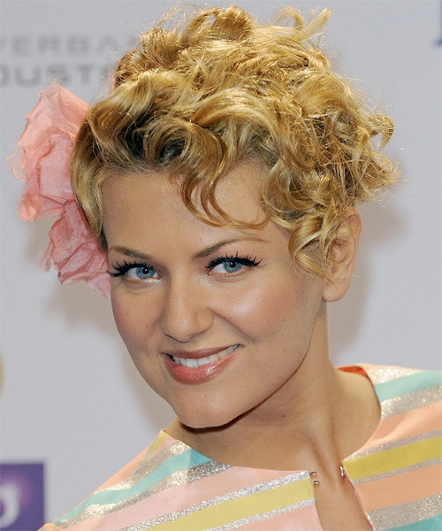 Ella Endlich Updo Medium Curly Formal  Updo Hairstyle   - Medium Blonde (Golden) - Side on View