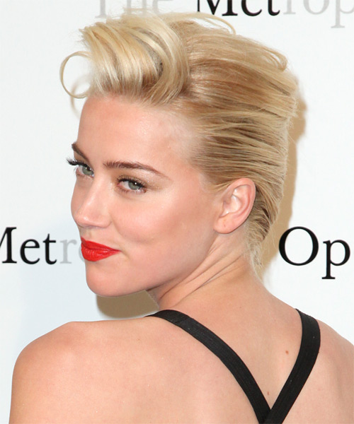Amber Heard Updo Medium Straight Formal Wedding Updo Hairstyle   - Light Blonde (Champagne) - Side on View