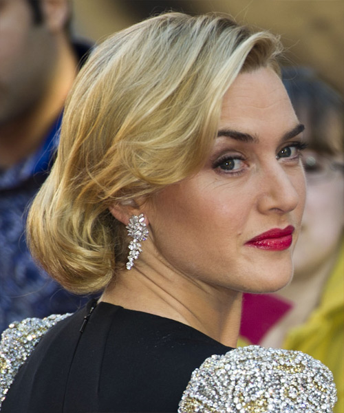 Kate Winslet Updo Medium Curly Formal Wedding Updo Hairstyle   - Medium Blonde (Golden) - Side on View