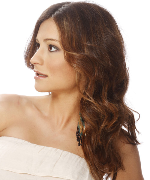 Long Wavy Formal   Hairstyle   - Dark Brunette (Chocolate) - Side on View