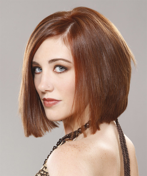 Medium Straight    Chestnut Brunette Bob  Haircut with Side Swept Bangs  - Side on View