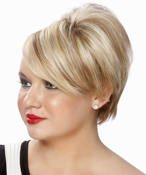 Short Straight Formal Wedding  Hairstyle with Side Swept Bangs  - Light Blonde (Platinum) - Side on View