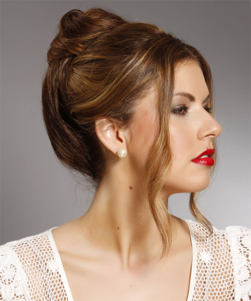 Long Straight Casual   Updo Hairstyle   - Dark Brunette Hair Color with  Brunette Highlights - Side on View