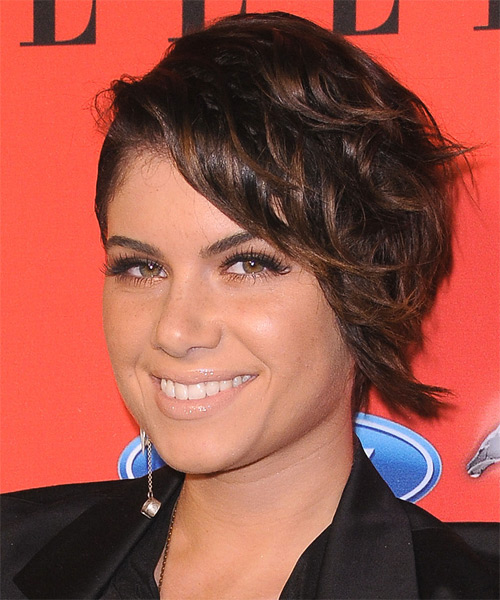 Leah LaBelle  Short Wavy Alternative   Hairstyle   - Black - Side on View