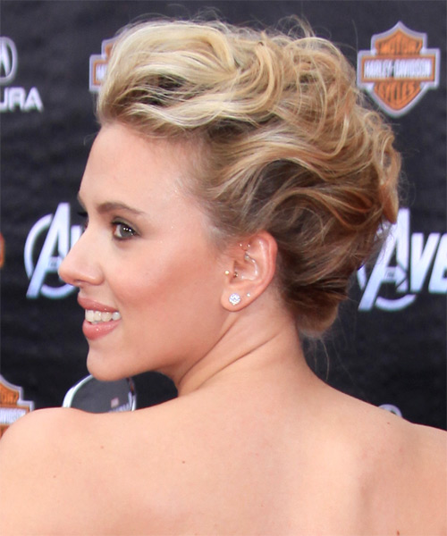 Scarlett Johansson Updo Medium Curly Formal Wedding Updo Hairstyle   - Dark Blonde - Side on View