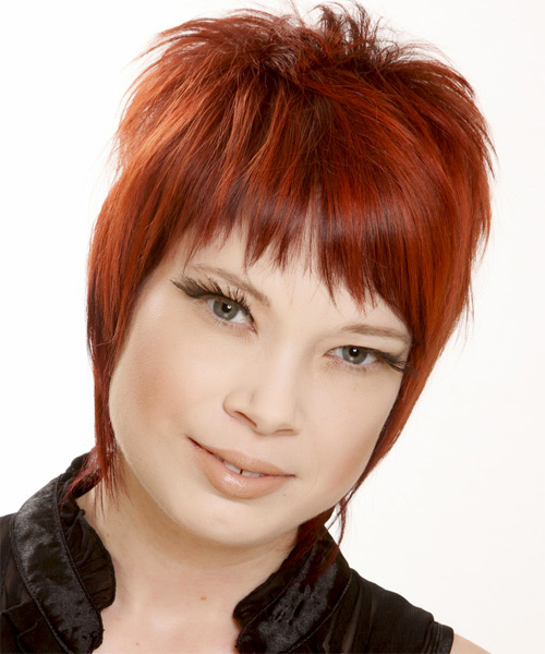 Short Straight Casual   Hairstyle with Razor Cut Bangs  - Medium Red (Bright) - Side on View