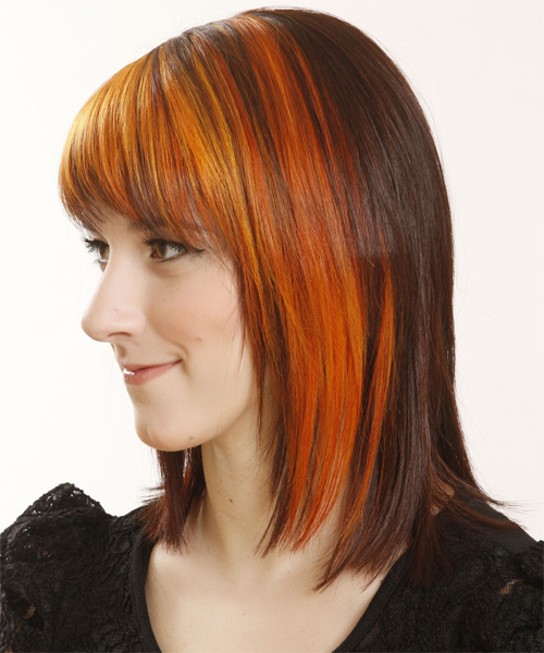 Medium Straight    Copper Brunette   Hairstyle with Razor Cut Bangs  and Orange Highlights - Side on View