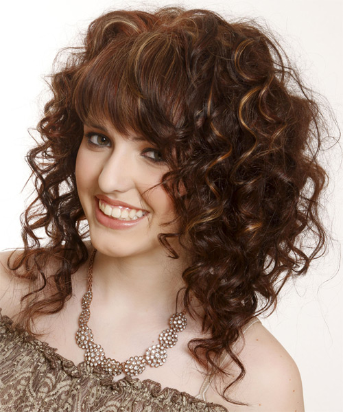 Medium Curly   Dark Mocha Brunette   Hairstyle with Asymmetrical Bangs  and Light Brunette Highlights - Side on View
