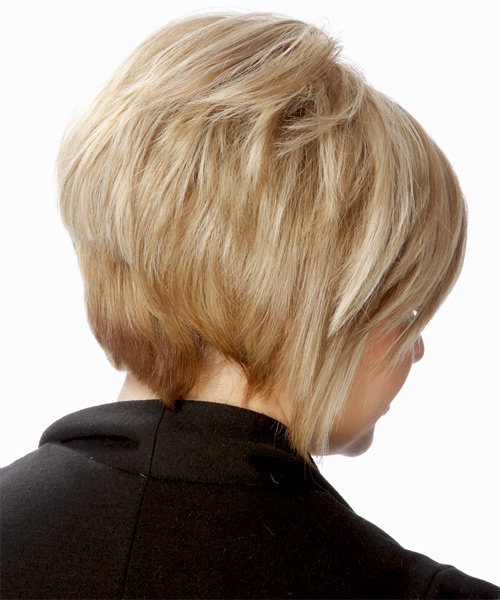 Short Straight   Light Golden Blonde   Hairstyle with Side Swept Bangs  and Dark Blonde Highlights - Side on View