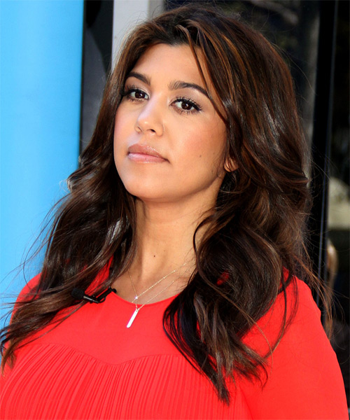 Kourtney Kardashian Long Wavy Casual    Hairstyle   - Black  Hair Color with Light Brunette Highlights - Side on View
