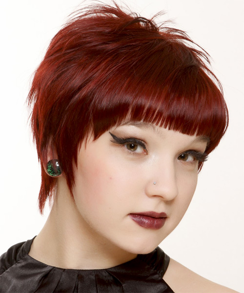 Short Straight Casual   Hairstyle with Blunt Cut Bangs  - Dark Red (Bright) - Side on View