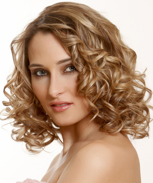 Medium Curly Formal   Hairstyle   - Dark Blonde (Golden) - Side on View