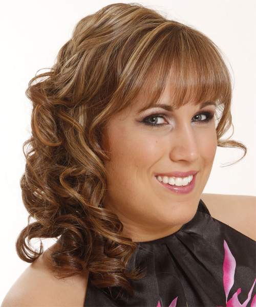 Long Curly   Dark Caramel Blonde  Half Up Hairstyle with Blunt Cut Bangs  and Light Blonde Highlights - Side on View