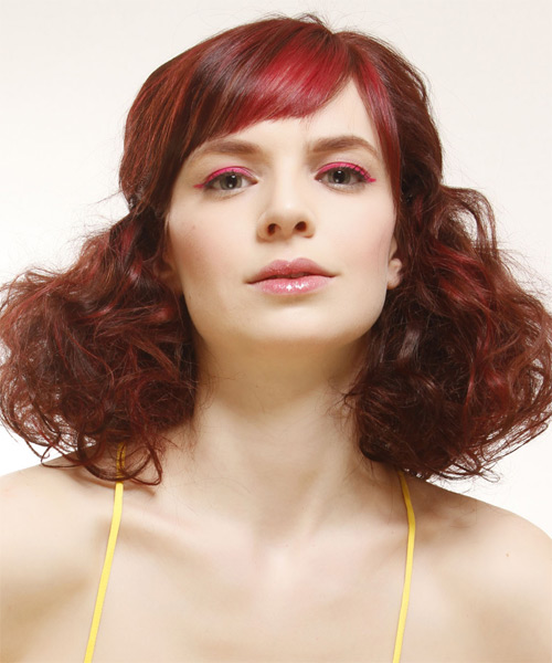 Medium Curly    Red  Half Up Hairstyle with Side Swept Bangs  and Light Red Highlights - Side on View